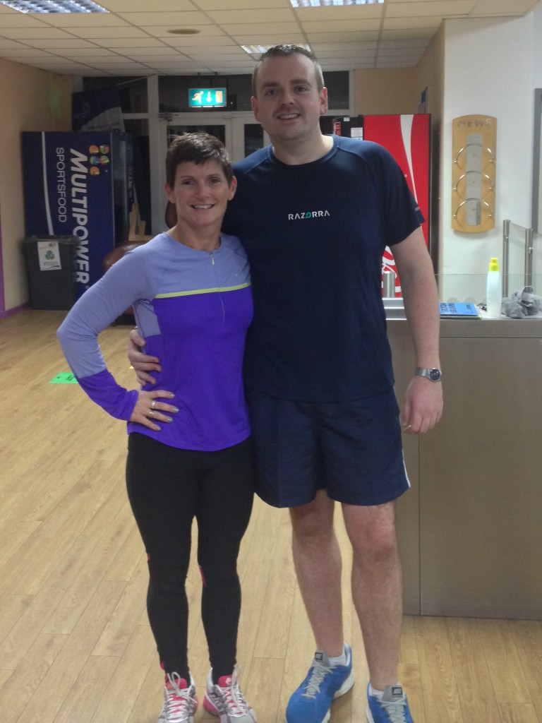 Ian Paton 'after' shot taken October 2014 with Julie, Fitness Manager at Falaise Leisure Centre