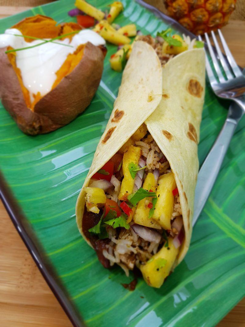 Caribbeanchicken burrito