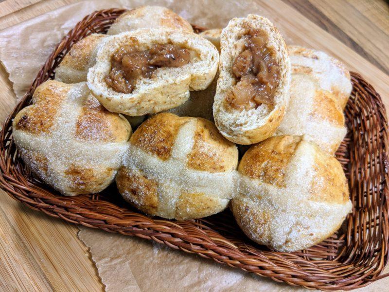 Low calorie hot cross bun doughnuts
