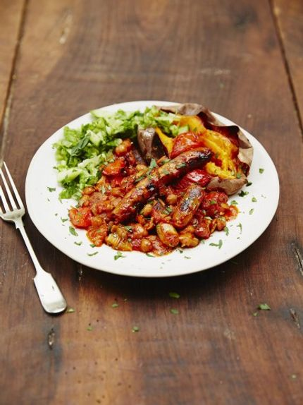 healthy meal prep recipes - smoky sausage and bean casserole