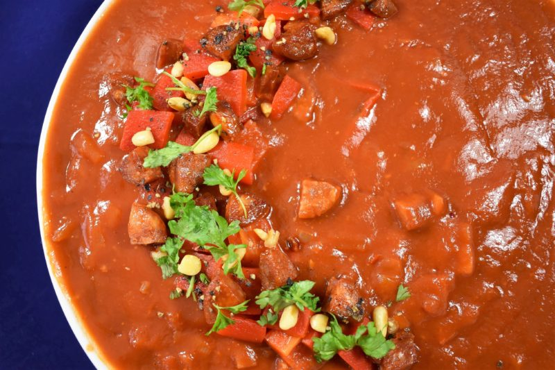 Chorizo and red pepper soup